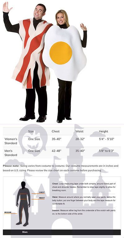 Halloween Costumes Couples: Bacon And Eggs Couples Adult Costume Standard Size BUY IT NOW ONLY: $33.71