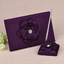 2 Pcs Ensemble Violet Satin Fleur Strass De Mariage Livre d'or et Stylo Faveurs De Mariage GB50(China (Mainland))