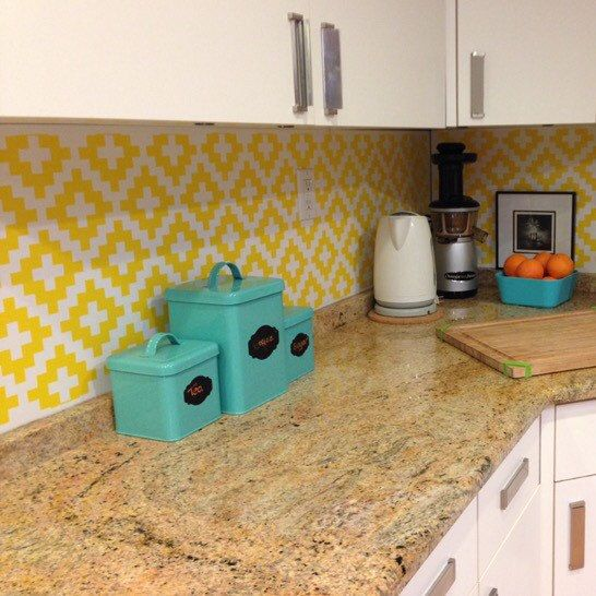 A backsplash accent featuring our southwestern inspired wall decals in yellow. : Heather Lawrence