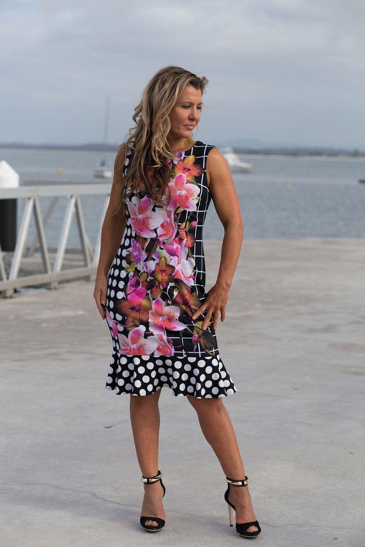 Joseph Ribkoff - Spotted Ruffle Dress - Style No: 171670