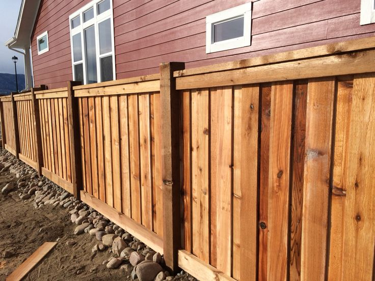 Custom cedar wood fence with 6x6 posts 6 overlapping - Exterior wood screws for fencing ...
