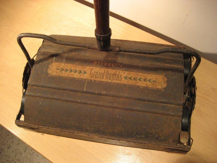 Vintage Bissell Bisco-Matic Floor Sweeper/Grand Rapids Push Sweeper/Industrial Carpet Cleaner/Country Inn Decor/Housekeeping Art/F5