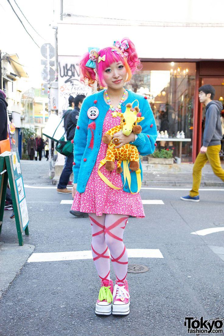 OMG GIRRAFFEEEEE PINK HAIRRRR THAT BLUE IM OBSESSED WITH  Kumamiki in Cute Blue Sweater in Harajuku