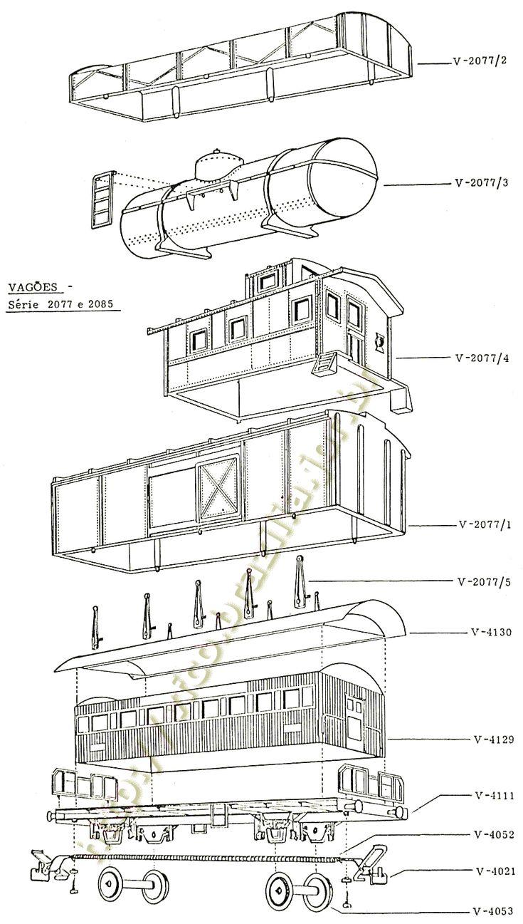 Diagramas de montagem e códigos das peças de reposição dos vagões curtos Atma //   Diagramas de montagem do trem elétrico Atma Vagões curtos de carga e de passageiros
