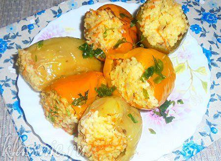 Перец фаршированный кускусом и овощами   Классные вегетарианские рецепты
