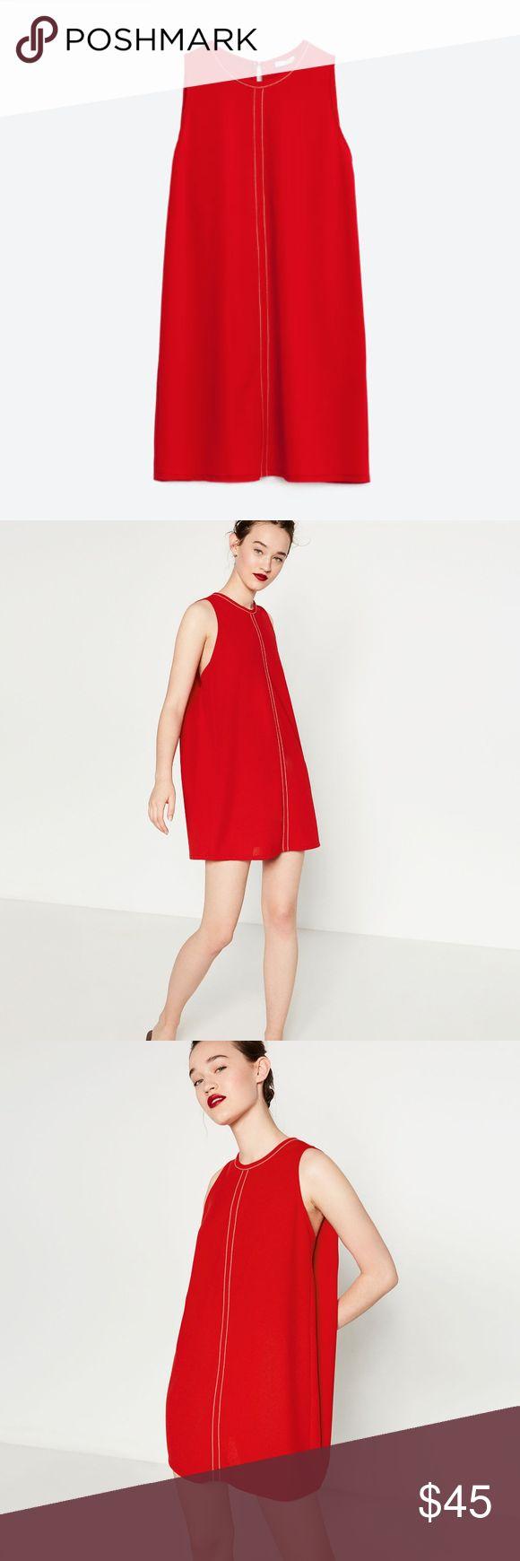 Zara Red Dress with Contrast Stitching Great condition. Beautiful dress. Zara Dresses Mini