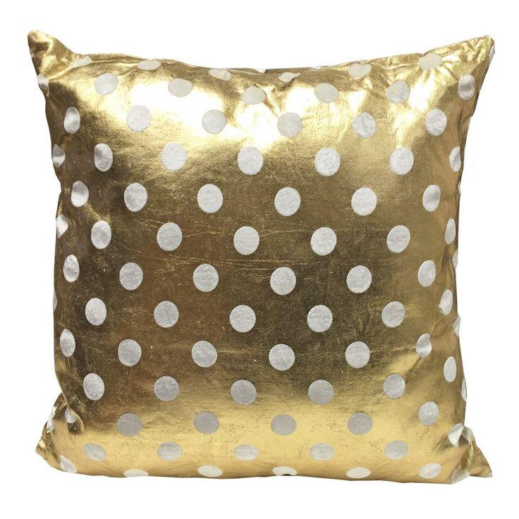 45x45 cm Metallic Cushion with Velour Spots, Gold Cushion - PASX UK