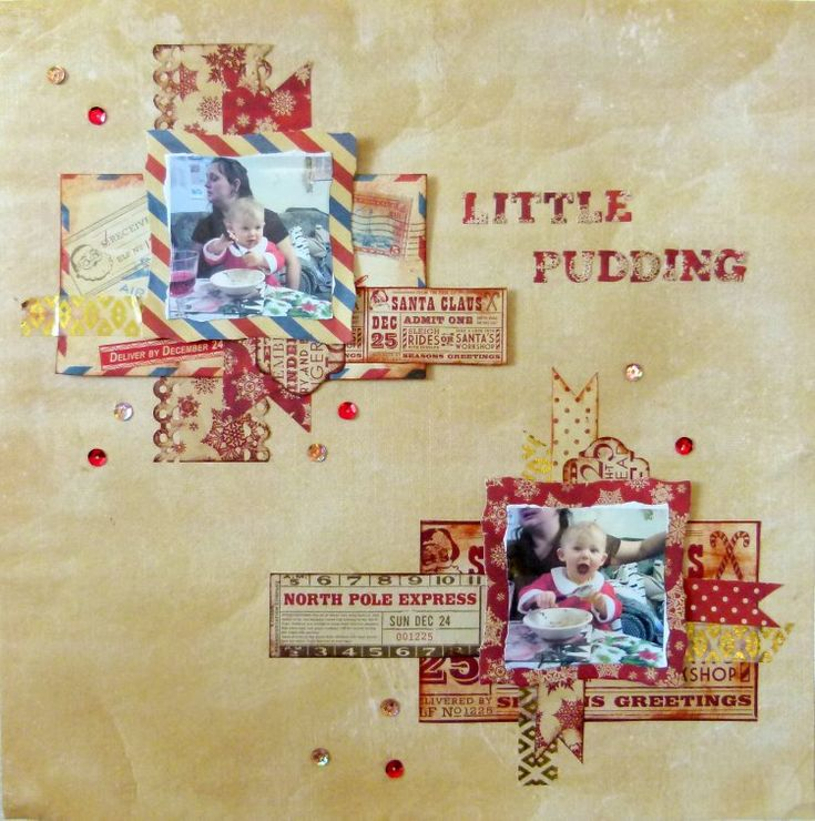 Dovecraft North Pole - Little Pudding Scrapbook Layout by design team member Katie