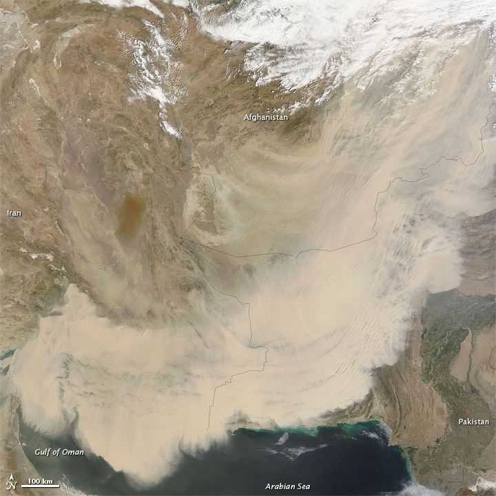 Dust storms have been raging across southwestern Asia and the Middle East in mid-March 2012. Intense dust events spanned thousands of kilometers from the Red Sea to Afgashistan, and from the Arabian Peninsula to India. Earlier in the month, dust was on the move in Iraq and Syria and along Africa's Atlantic and Mediterranean coasts.