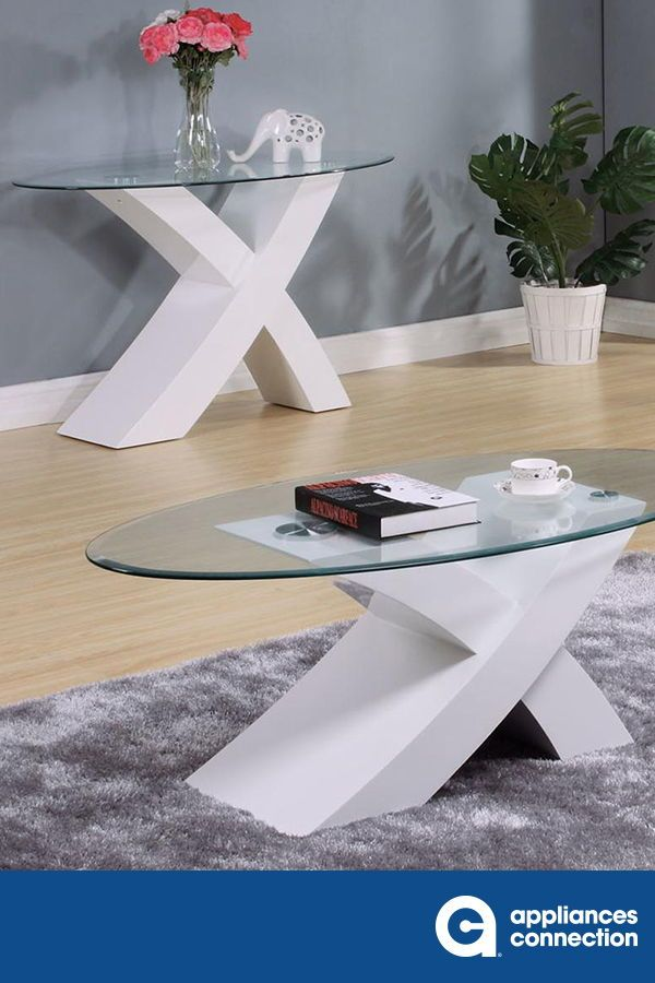 Pervis Coffee Table White Clear Glass Livingroom
