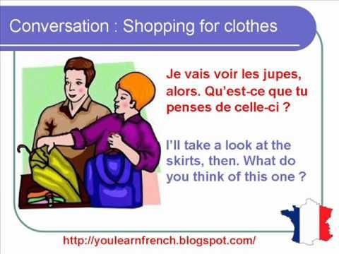 French Lesson 155 - Shopping Buying clothes - Dialogue Conversation + English subtitles - YouTube