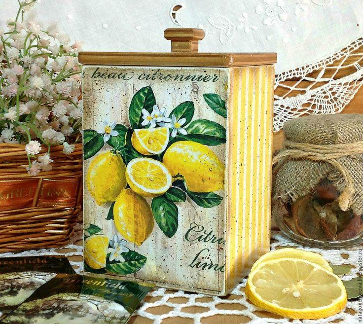 """Купить короб """"Сочные лимончики"""" - желтый, Декупаж, декупаж работы, декупаж короба, кухня"""