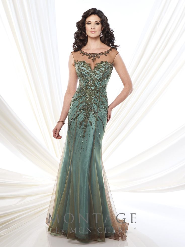 Lace and tulle over taffeta trumpet gown with hand-beaded illusion cap sleeves and bateau neckline, beaded lace sweetheart bodice, beaded illusion keyhole back, horsehair hem, sweep train. Matching shawl included. Sizes: 4 – 20, 16W – 26W Colors: Bronze/Aqua, Sapphire, Black/Pink