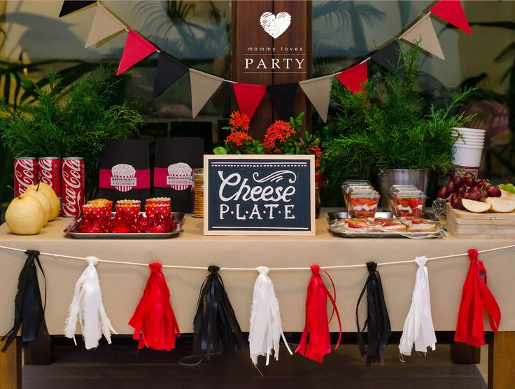 Movie theme party as surprise for Him, Movie on the lawn, cheese plate, salads, decorations for man's party.
