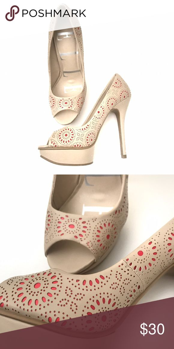 Elle Nude & Coral Heels Good condition nude heels with little accents of coral peeking through. Such a cute heel for any occasion! Elle Shoes Heels