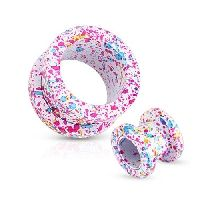 16 mm Screw-fit tunnel wit met roze, blauw, gele spetter