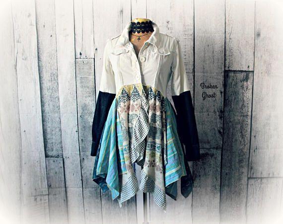 Layered Gypsy Coat Reconstructed Womens Art Jacket Bohemian