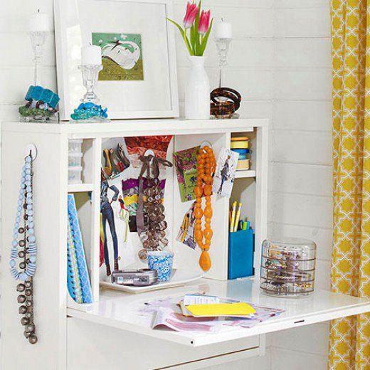 Wallmount Desk Jewelry Storage   Easy Organization Ideas for the Home