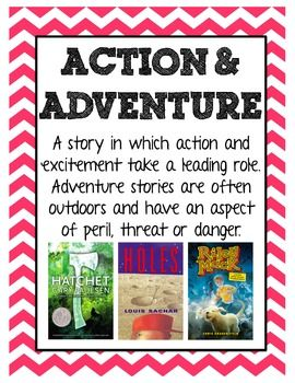 Printable genre posters with examples of literature found in each genre. Poster Set Includes: -Action and Adventure -Autobiography -Biography -Fantasy -Historical Fiction -Humorous Fiction -Informational -Mystery -Poetry -Realistic Fiction -Science Fiction -Traditional Literature