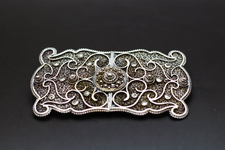 Antique Silver Filigree Brooch - Edwardian Statement Brooch - Dutch Button 835 Silver Filigree - Handcrafted 1900s Marcasite Jewelry