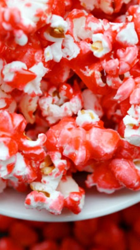 Cinnamon Heart Popcorn ~ This recipe is quick, easy and delicious... What a fun way to use up extra cinnamon hearts!