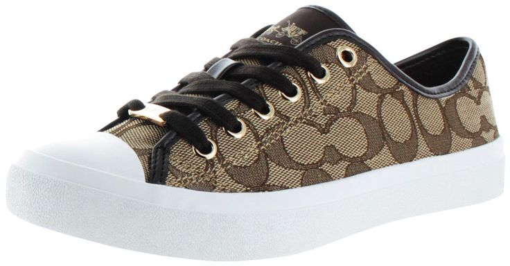 From the 2015 Coach Holiday Collection comes the Women's Empire Signature Low Top Sneakers! These feature: Canvas signature print upper, vulcanized rubber outsole, lace up design, padded cushioned ins