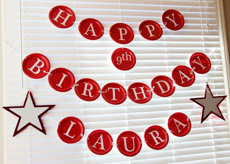 She used plates from the Dollar Store and cut out letters to create this awesome birthday banner. The stars she picked up from Party America for $0.69/each.