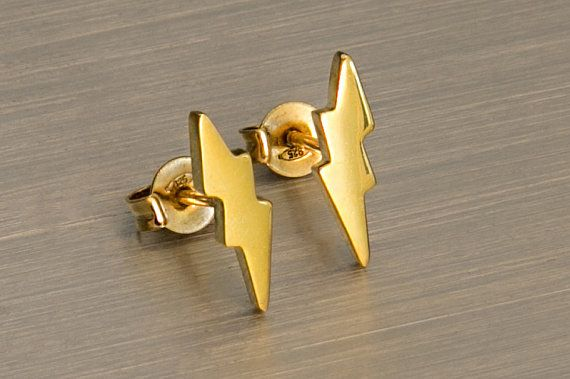 Lightning studs 925 sterling silver Gold post Tiny
