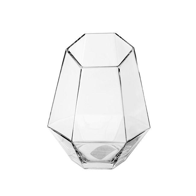 Geometric Glass Vase Angled Top Clear (17x21cmH)