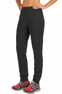"""Title Nine: Phoenix Training Pant - Somewhere between the ashes of the stiff, swishy pants of yesteryear and today's all-flash-and-no-substance, 'runway' styles, the Phoenix was born. An updated, modern take on the classic training pant, one that skims just right. Performance blend of poly/spandex moves moisture off our skin and with us through every stride. Soft peached finish soothes post-run. Wide, elasticized waist; infinite drawcord. 2 front, 1 back zippered pocket. Classic rise; 29""""…"""