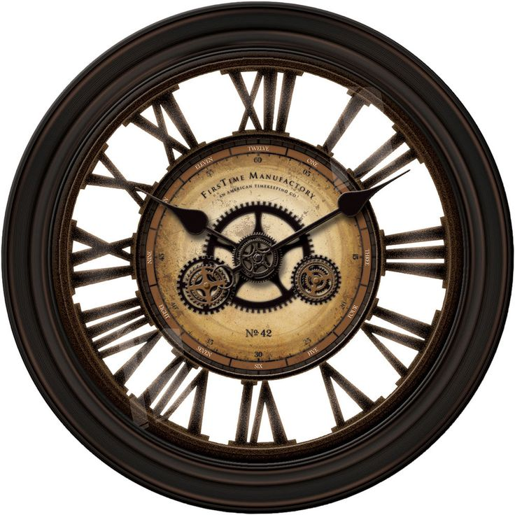 "Wall Clock Large 24"" Gear Steampunk Open Face New Oversized Clocks Gears Move #FirstMnf #IndustreialInspiredSteampunkWithGreatAccents"