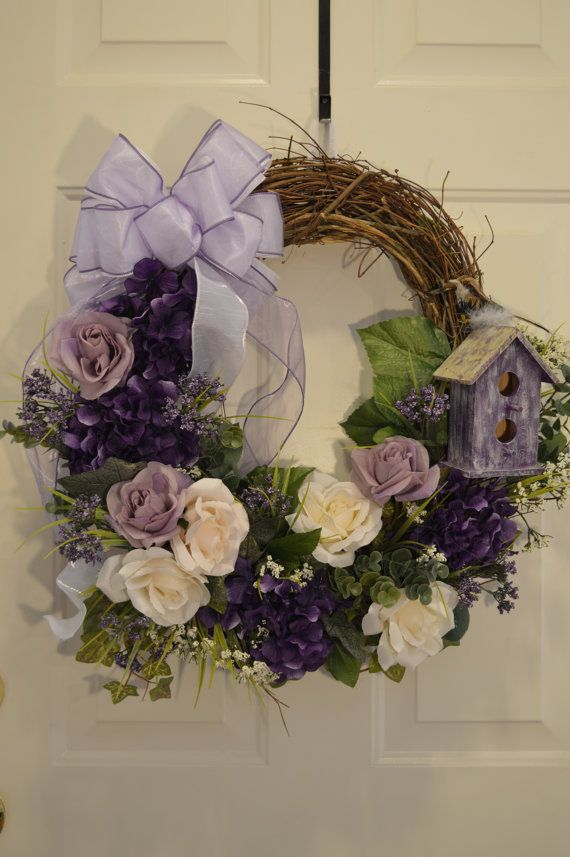 Spring wreath, Summer wreath, Easter wreath, Mother's Day wreath, shabby chic wreath, birdhouse, rustic wreath, Grapevine wreath on Etsy, $89.00