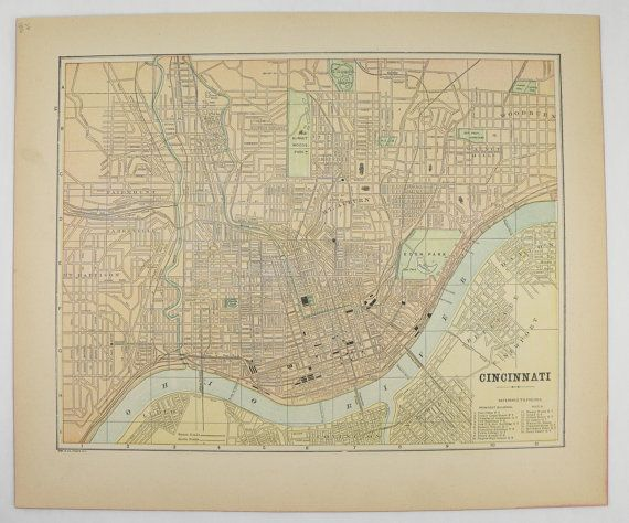 Vintage City Map of Cincinnati Ohio 1896 City Street Map, Cincinnati Map, Antique Map, Office Art Gift for Coworker, Wedding Gift for Couple available from OldMapsandPrints.Etsy.com #CincinnatiOhio #AntiqueCincinnatiMap
