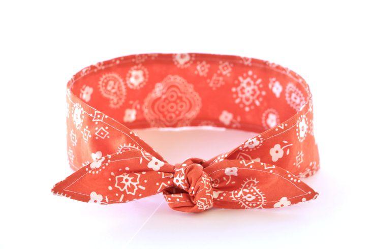 No Wire Dolly Bow Headband ORANGE Bandana Fabric Rockabilly Pin Up Women Teen Girls Hair Accessory Headscarf Top Knot Headband by Lorettajos on Etsy
