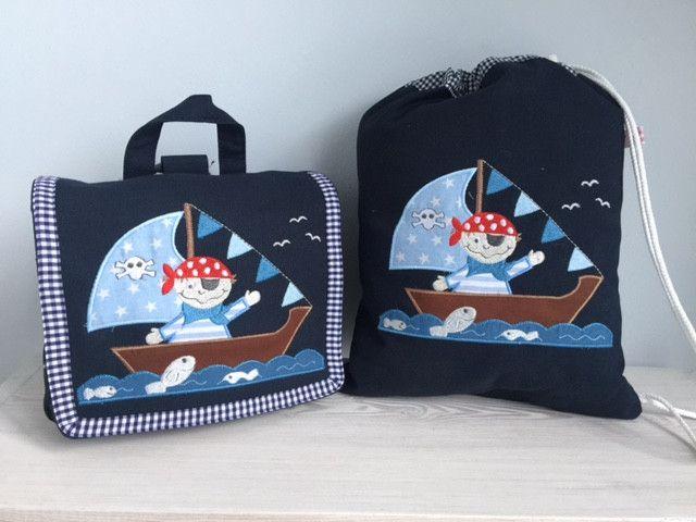 Kindergartentaschen - Traumhaftes Set Tasche u. Turnbeutel- Pirat!  - ein Designerstück von Goldfisch17 bei DaWanda