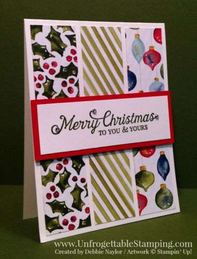 Unfrogettable Stamping | Fabulous Friday easy to reproduce Christmas card featuring the Season of Cheer DSP and Six Sayings hostess stamp set by Stampin' Up!