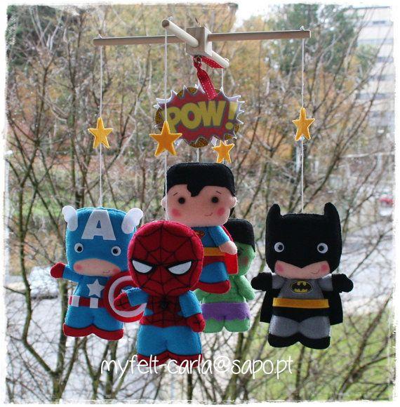 Super Hero Mobile, Super Heroes Mobile, Superheroes Mobile, Superhero Mobile Baby Crib Spiderman, Batman, Hulk, Captain America, Superman BB
