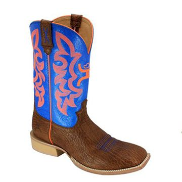 These quality made, real leather boots are the ultimate cowboy accessory. With a wide square toe and a top height of 12″ from the arch, you will feel the real quality of the craftsmanship. http://coolneonshoes.com #cowboy #boot #leather #blue #orange