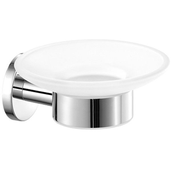SCBA Ergon Wall Mounted Soap Dish Holder Frosted Glass Tray Soap Holder - Brass