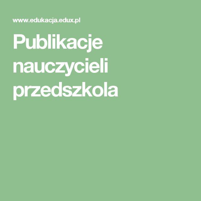 Publikacje nauczycieli przedszkola