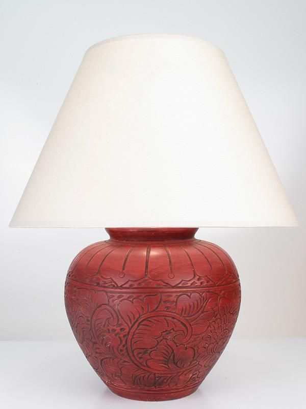 Sarakham Pottery Table Lamp In Red | Amiska Lamps