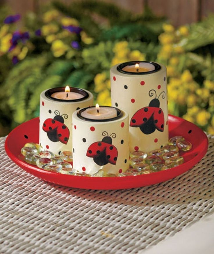 Ladybugs Tea Light Candle Garden Set Holder Tray Table Centerpiece Home Decor