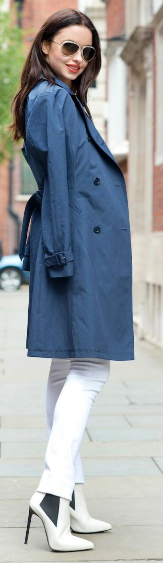 Prada Blue Chic Midi Women's Trench