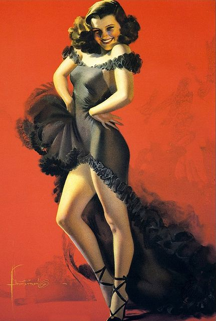 """Rolf Armstrong    This was the first painting of Armstrong's favorite model, who was Jewel Flowers. She was 17 at the time and had never modeled before. She turned out to be his favorite model and he painted her about 60 times. Armstrong was one of the few artists who actually painted from the live model, rather than photographs of the model. This painting is known as """"How Am I Doing"""" and was done in 1940."""
