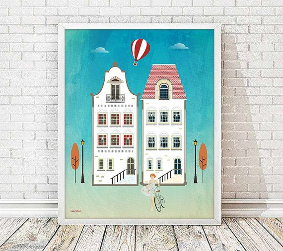 houses print, white houses, decor house print, wall art decor, nursery decor, wall art print, living room, bicycle print, vintage print