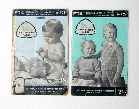 Vintage 1950s Patons Knitting book for babies and by evaelena, $12.50
