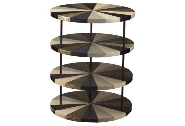 Poiroux Round Side Table, Black/Charcoal