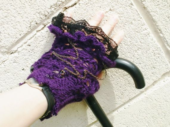 Victorian / Steampunk / NeoGoth Purple Knitted by koticzka on Etsy