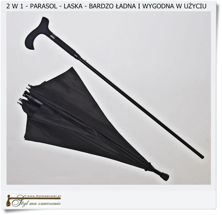 Duży składany parasol z laską dla podróżnika
