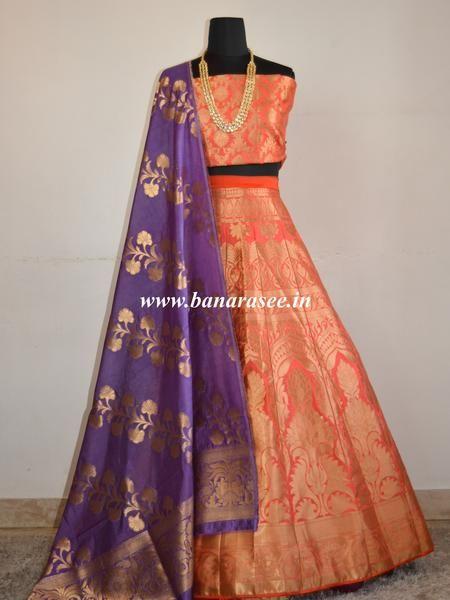Banarasee/Banarasi Handwoven Semi Silk Unstitched Lehenga & Blouse Fabric With Dupatta-Peach